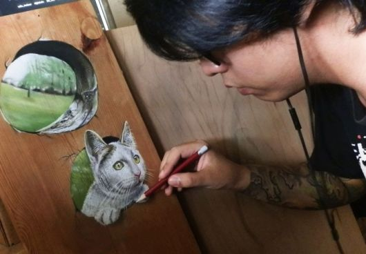 Photorealistic Pastel Drawings On Boards Of Wood