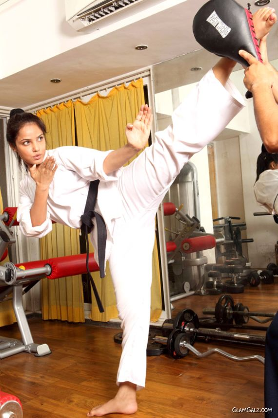 Neetu Chandra Training For Taekwondo